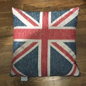 Union Jack Pillow w/ Navy Velour Backing